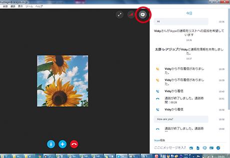 Skype通話中画面