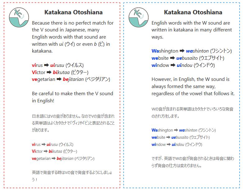 発音 KATAKANA OTOSHIANA