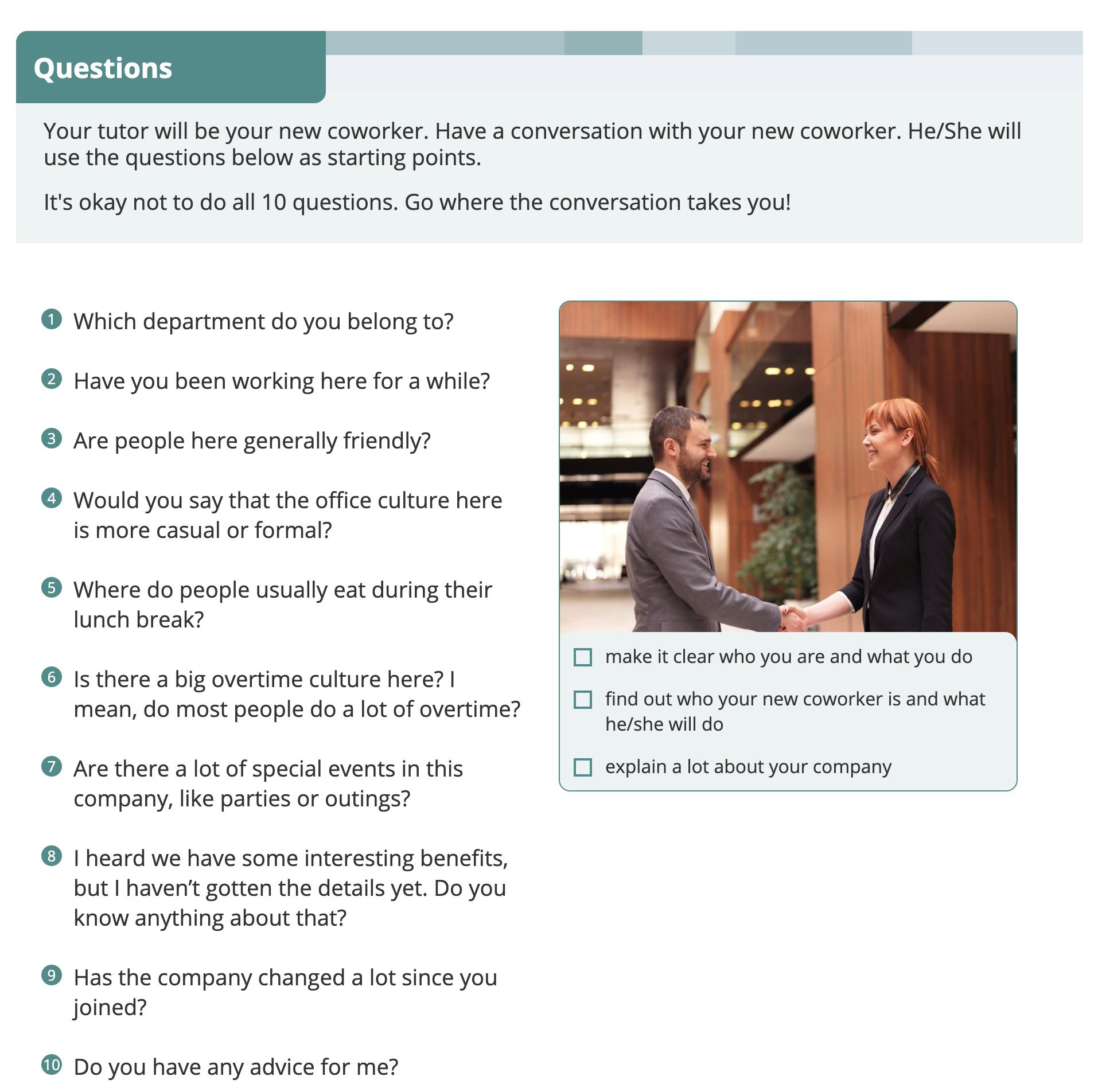 ビジネスシチュエーションクエスチョン 中級 QUESTIONS